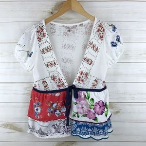 <Knitted & Knotted> Floral Shrug Cardigan Boho